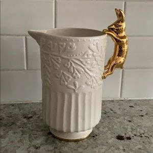 Anthropologie ceramic pitcher with gold bunny